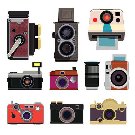 Retro photo cameras. Illustrations in cartoon style isolate