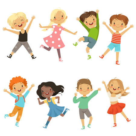 Active kids in different action poses. Vector illustrations