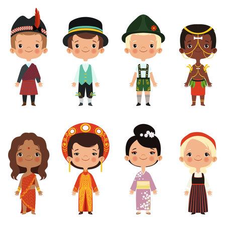 Happy kids of various nationalities Vector Illustratie