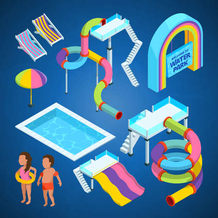 Isometric pictures of water park. Various attractions at swimming pools