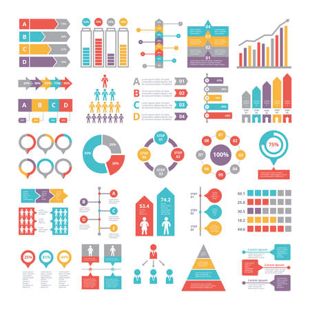 Charts, graphs and other different infographics elements for business Ilustración de vector