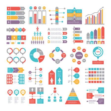 Charts, graphs and other different infographics elements for business Ilustração Vetorial