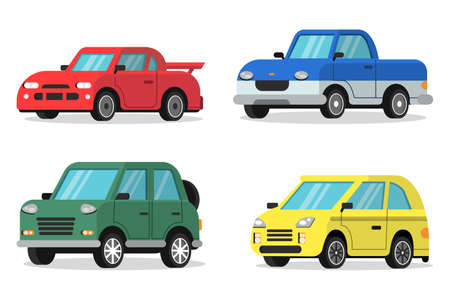 Flat illustrations of cars in orthogonal projection