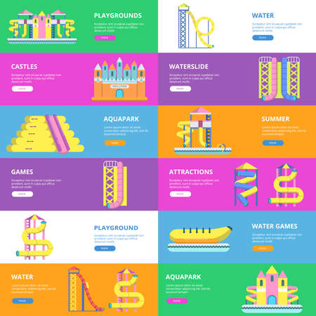 Horizontal banners with pictures of tools for water park and childrens playground Vecteurs