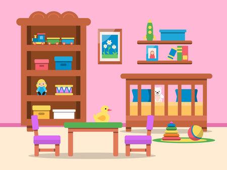 Vector picture of kids room interior. Bed, table and various toys Vektoros illusztráció