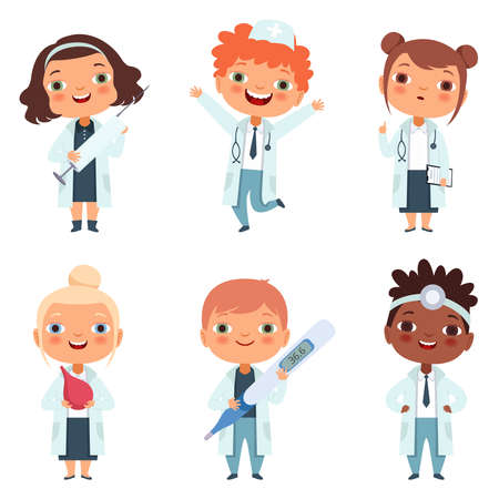 Doctor profession. Childrens in different poses