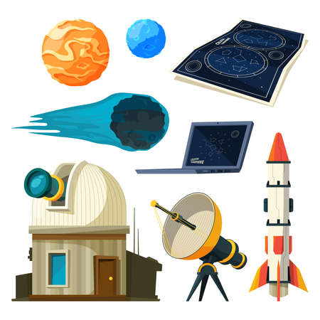 Science astronomy pictures set. Various vector symbols of astronomy Vecteurs