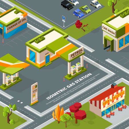 Fuel station in urban landscape. Vector isometric pictures