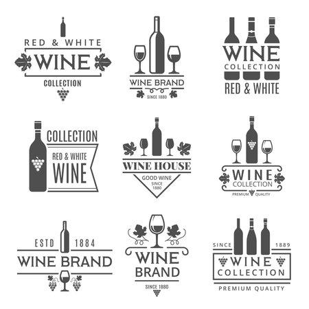 Various wine brands. Vector design template Vettoriali