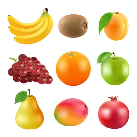 Different illustrations of fruits. Realistic vector pictures isolate on white Vektorgrafik