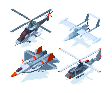 Aircraft isometric. Warplanes and helicopter isolate on white background