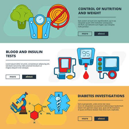 Medical banners. Design template of banners with diabetic symbols