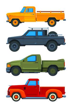 Vector pickup trucks. Various illustrations of transport Ilustração Vetorial