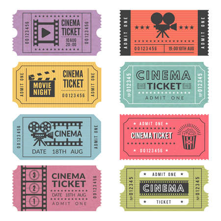 Template of cinema tickets. Vector designs of various cinema tickets with illustrations of video cameras and other tools Vektorgrafik