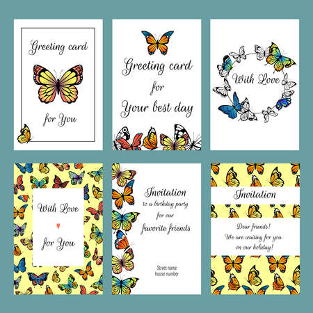 Cards with butterflies. Design template of cards invitation with illustrations of colored butterflies