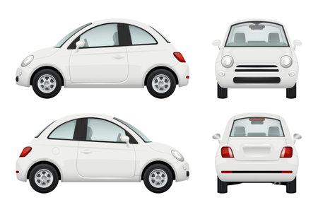 Passenger car. Different view realistic illustrations of cars Vektoros illusztráció