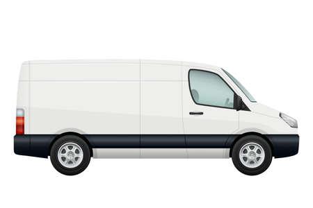 Mini van car. Side view of vector white minivan isolated on white