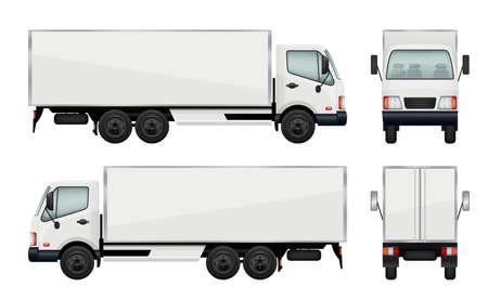 Realistic truck. Vector illustrations transportation of cargo