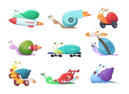 Snails cartoon characters. Slow sea slug or caracoles vector illustrations