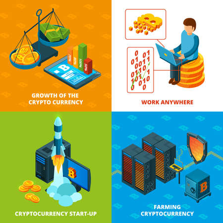 Cryptocurrency mining. Electronic money blockchain research vector concept isometric compositions