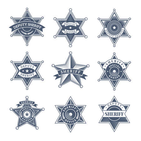 Security sheriff badges. Police shield and officers logo texas rangers vector symbols