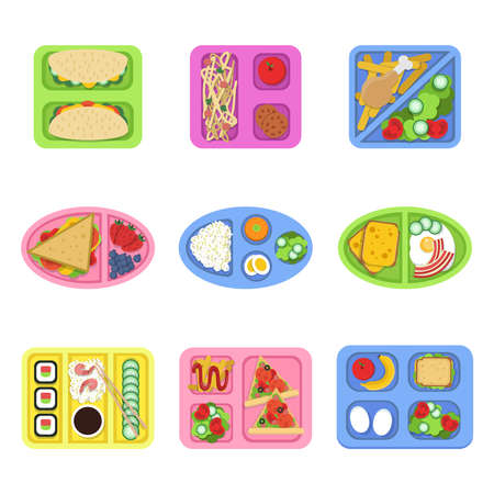 Lunch box. School fresh healthy food in plastic containers with vegetables, meal and sliced products for breakfast. Vector pictures Ilustração Vetorial