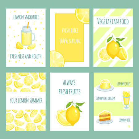 Fresh lemon cards. Lemonade and lemon citric juice with sliced and fresh fruits. Vector retro template