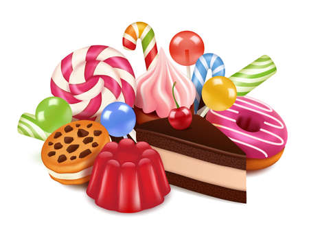 Dessert illustrations. Background with homemade cakes, chocolate candy lollipop and sweets. Vector high res pictures of tasty desserts