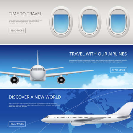 Sky airplane tourism banners. Civil aviation pictures of blue sky and aircraft windows wings vector illustrations place for your text