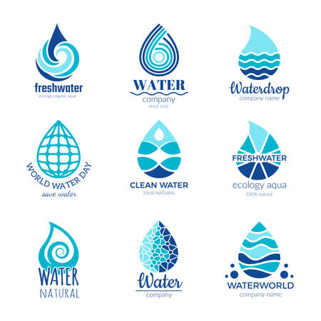 Water logos. Aqua water drops and splashes silhouette health rain spa vector symbols isolated with place for your text Logo