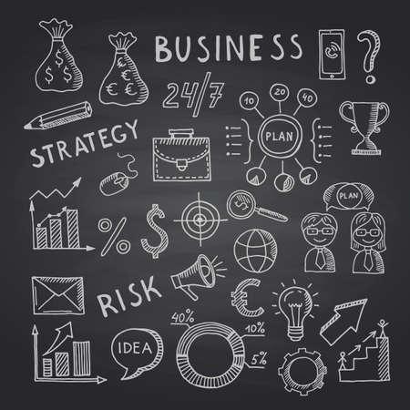 Vector business doodle icons on black chalkboard illustration Vecteurs