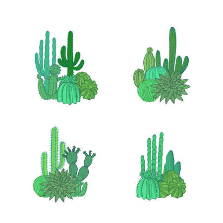 Vector hand drawn desert cacti plants piles set isolated on white background illustration
