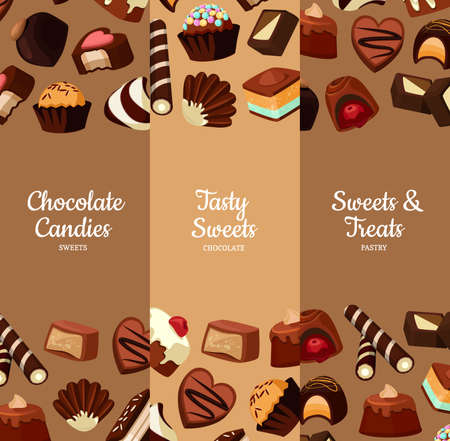 Vector vertical banners illustration with cartoon chocolate candies