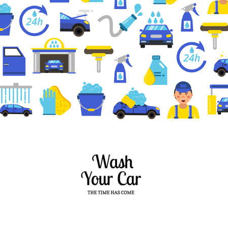 Vector background with car wash flat icons