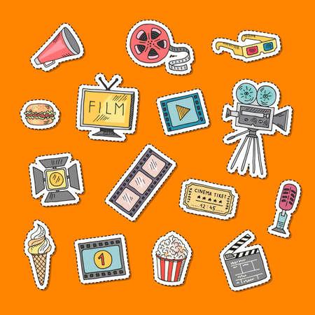 Vector cinema doodle icons stickers set illustration Vettoriali