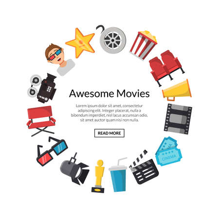 Vector flat cinema icons in circle