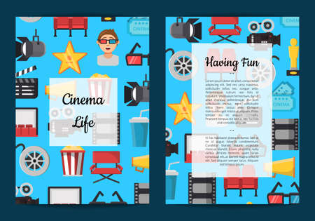 Vector flat cinema icons card or flyer