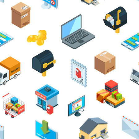 Vector isometric logistics delivery icons pattern background illustration