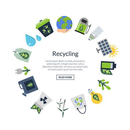 Vector ecology flat icons Vektoros illusztráció