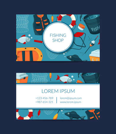 Vector card template for fishing equipment shop Vektorové ilustrace