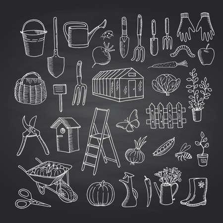Vector gardening doodle icons on black chalkboard illustration Vektorové ilustrace