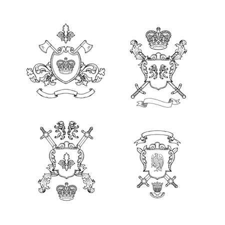 Heraldics chivalry arms. Vector hand drawn heraldics illustration