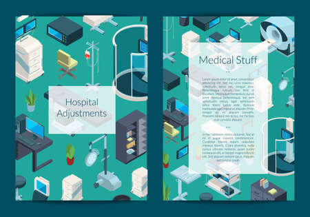 Vector isometric hospital icons card or flyer template illustration