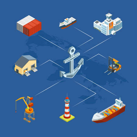 Vector isometric marine logistics and seaport infographic concept illustration Vettoriali