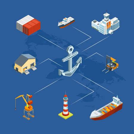 Vector isometric marine logistics and seaport infographic concept illustration Ilustração Vetorial