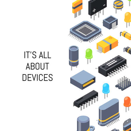 Vector isometric microchips and electronic parts icons illustration