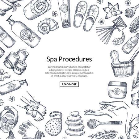 Vector hand drawn spa elements background illustration Ilustración de vector