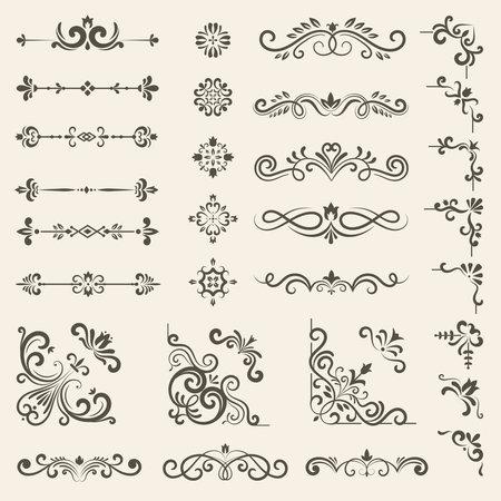 Decorative ornate set. Vintage floral dividers and borders royal premium style decoration vector set