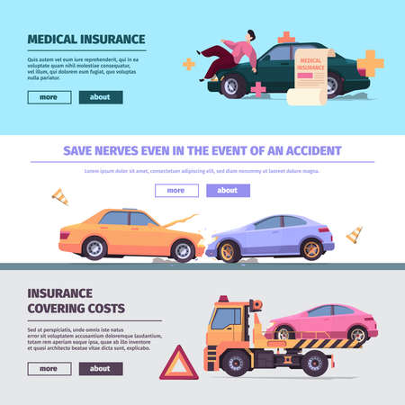 Insurance cars banners. Accident on road with damaged vehicles traffic car elements garish vector templates with place for text Vector Illustratie