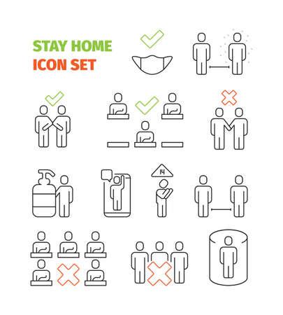 Stay home icon. Social area healthcare prevention covid vaccination public self disinfection garish vector icon collection Vecteurs